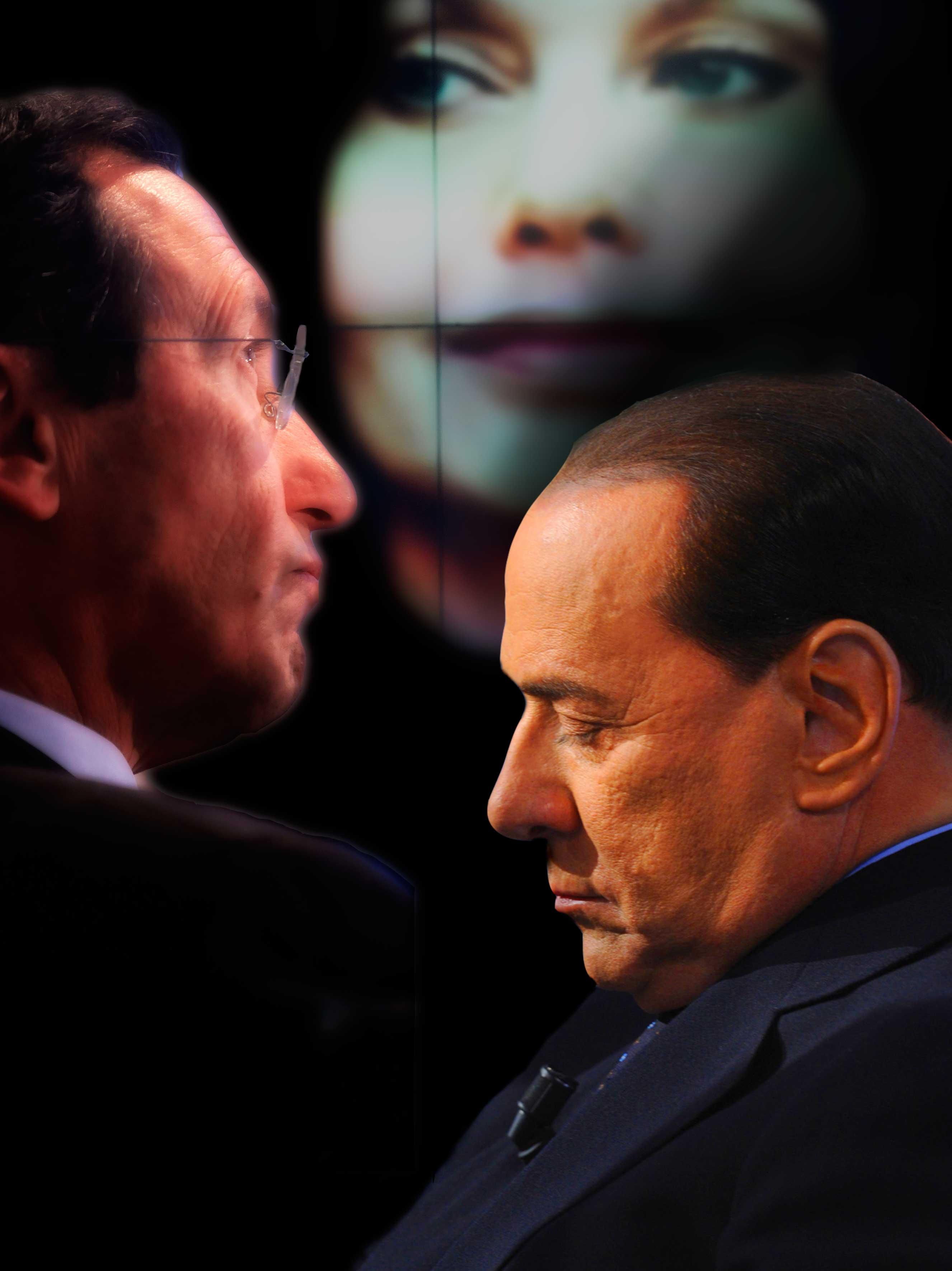 """L'Infedele: il premier tra Fini e le """"ghedinate"""""""