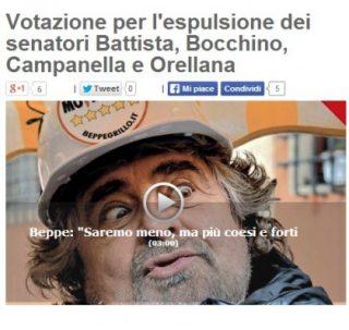 Beppe Grillo chiede l'espulsione dei 4 senatori dissidenti