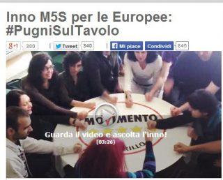 """""""Pugni sul tavolo"""", l'inno del M5S per le Europee"""