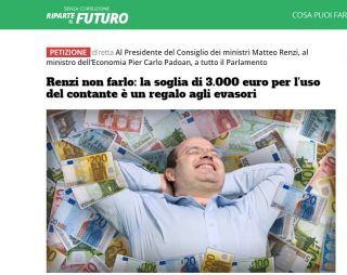 Renzi ripensaci e torna al 2012: don Ciotti e Riparte il futuro chiedono di non aumentare il tetto del contante, un regalo agli evasori